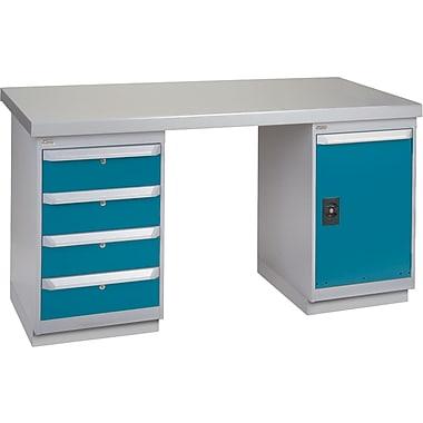 KLETON Workbench, Steel- Wood Fill, 2 Pedestals, 4 Drawers, Full Door Cabinet