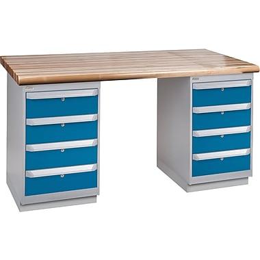KLETON Workbench, Laminated Wood Top, 2 Pedestals, 4 Drawers, 4 Drawers