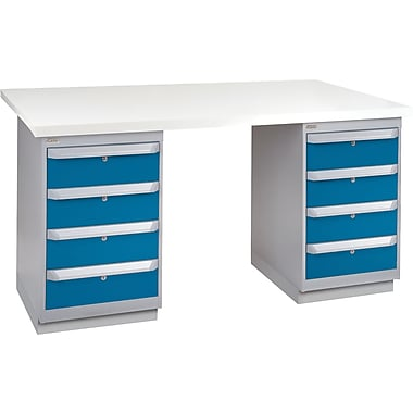 KLETON Workbench, Plastic Laminate Top, 2 Pedestals, 4 Drawers, 4 Drawers