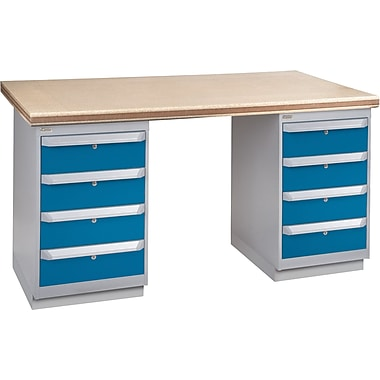 KLETON Workbench, Shop Top, 2 Pedestals, 4 Drawers, 4 Drawers