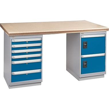 KLETON Workbench, Shop Top, 2 Pedestals, 6 Drawers, 4 Drawers