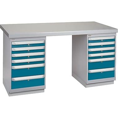 KLETON Workbench, Wood Filled Steel Top, 2 Pedestals, 6 Drawers, 6 Drawers