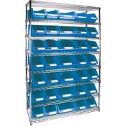 "Kleton Wire Shelving Units With Storage Bins, 48""W. x 18""D. x 74""H., 35 Bins, 2 Bin Sizes"