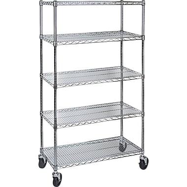 Kleton Wire Shelf Carts, 5 Shelves, 24