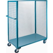 """KLETON Wire Mesh Utility Carts, Three-Sided, 1 Shelf, 5"""" Non-Marking Rubber Caster"""