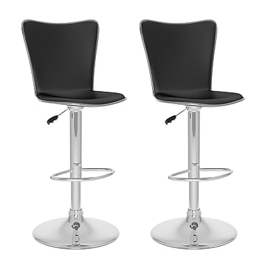 CorLiving™ Leather Tall Curved Back Adjustable Bar Stools