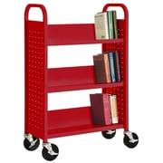 """Sandusky® 46""""H x 18""""W x 14""""D Steel 3 Shelf Single Sided Sloped Book Trucks"""
