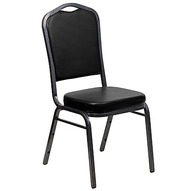 Flash Furniture Hercules Series Crown Back Banquet Stack Chair with Black Vinyl and 2.5'' Thick Seat, Silver Vein Frame