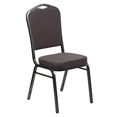 Flash Furniture Hercules Series Crown Back Banquet Stack Chair with Grey Fabric and 2.5'' Seat, Silver Vein Frame