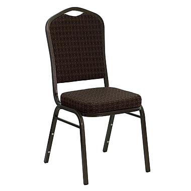 Flash Furniture Hercules Series Crown Back Stacking Banquet Chair with Brown Patterned Fabric and Gold Vein Frame