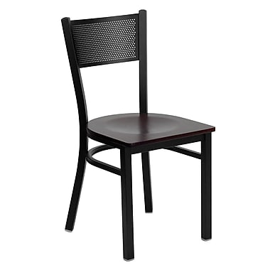Flash Furniture Hercules Series Black Grid Back Metal Restaurant Chair, Mahogany Wood Seat