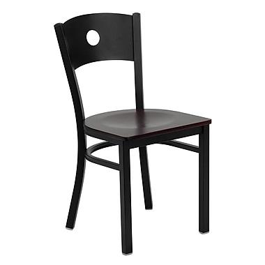 Flash Furniture – Chaise de restaurant en métal à dossier circulaire de la série Hercules, noir, siège en bois d'acajou