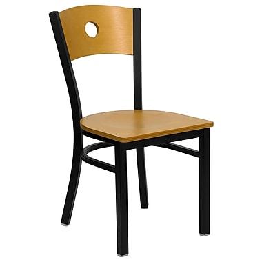 Flash Furniture – Chaise de restaurant en métal à dossier circulaire Hercules, noir, siège et dossier en bois naturel