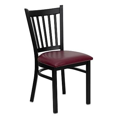 Chaise de restaurant en acier avec dossier à traverses verticales, noir, siège en vinyle bourgogne