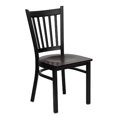 Flash Furniture – Chaise de restaurant en métal à dossier à traverses verticales Hercules, noir, siège en bois d'acajou