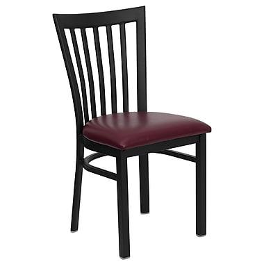 Flash Furniture – Chaise de restaurant en métal au dossier à lattes verticales Hercules, noir, siège en vinyle bourgogne