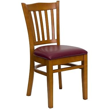 Flash Furniture Hercules Series Cherry Wood Vertical Slat Back Restaurant Chair, Burgundy Vinyl Seat