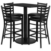 Flash Furniture 24'' x 42'' Rectangular Table Set W/4 Ladder Back Metal Bar Stools