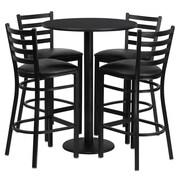 Flash Furniture 30'' Round Table Set W/4 Ladder Back Metal Bar Stools