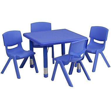 Flash Furniture – Table d'activités carrée réglable de 24 po en plastique avec 4 chaises d'école empilables