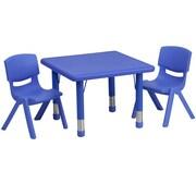 Flash Furniture – Table d'activités carrée réglable de 24 po en plastique avec 2 chaises d'école empilables
