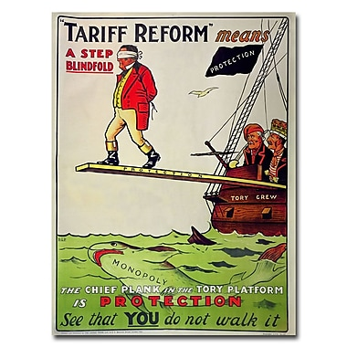 Trademark Fine Art Tariff Reform Means a Step Blindfold 1910' Canvas Art