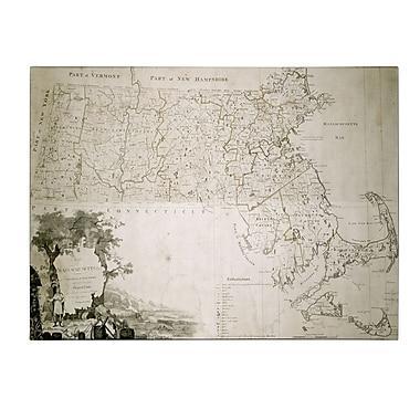Trademark Fine Art Map of the State of Massachusetts 1801' Canvas Art
