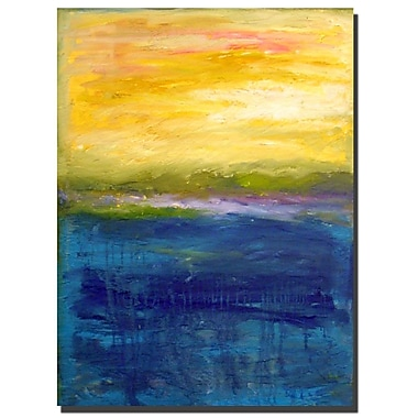 Trademark Fine Art Gold and Pink Abstract by Michelle Calkins-Ready to Hang