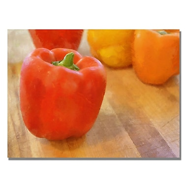 Trademark Fine Art Michelle Calkins 'Tri Color Peppers' Canvas Art