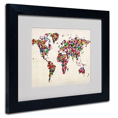 Trademark Fine Art Michael Tompsett 'Butterflies World Map' Framed Matted Art