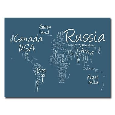 Trademark Fine Art Michael Tompsett 'Writing World Map' Canvas Art