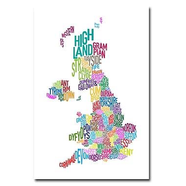 Trademark Fine Art Michael Tompsett 'UK Counties Text Map' Canvas Art