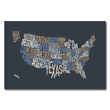 Trademark Fine Art Michael Tompsett 'United States Text Map' Canvas Art