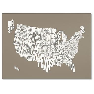 Trademark Fine Art Michael Tompsett 'TAUPE-USA States Text Map' Canvas Art