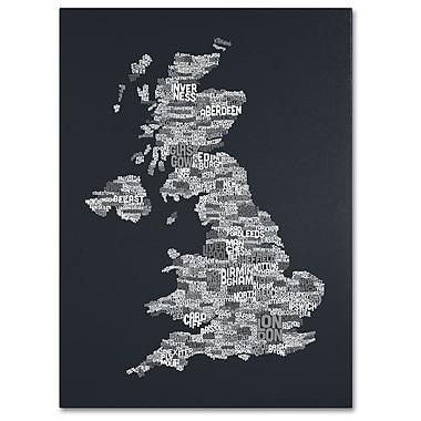 Trademark Fine Art Michael Tompsett 'UK Cities Text Map 4' Canvas Art