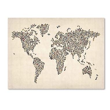 Trademark Fine Art Michael Tompsett 'Ladies Shoes World Map' Canvas Art