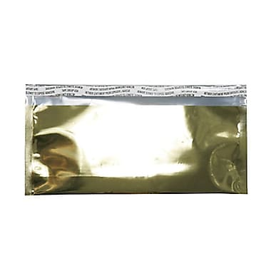 JAM PaperMD – Enveloppes format livret ouverture côté court en aluminium à fermeture « pelez et scellez », 4 x 9 1/2 po, doré
