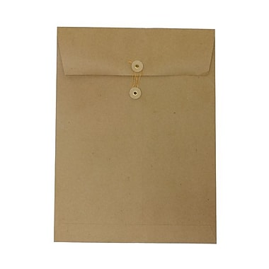 JAM paperMD – Enveloppes ouvertes en papier recyclé à fermeture à bouton et à ficelle, 9 po x 12 po, brun kraft