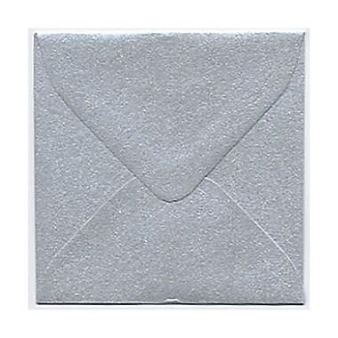 JAM Paper® Square Stardream Metallic Envelopes with Gum Closures, Silver
