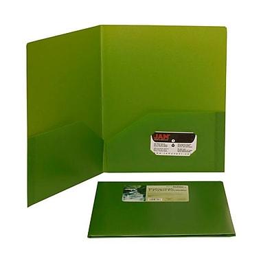 JAM PaperMD – Chemises Eco en plastique biodégradable à 2 pochettes, 9 1/2 x 11 1/2 po, vert lime