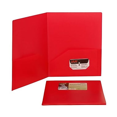 JAM Paper® Plastic Biodegradable Two Pocket Eco Folders, 9-1/2