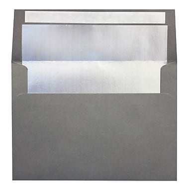 LUX A4 Foil Lined Invitation Envelopes (4 1/4 x 6 1/4), Smoke w/Silver LUX Lining