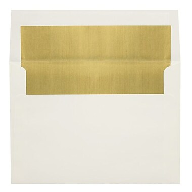 LUX A6 Foil Lined Invitation Envelopes (4 3/4 x 6 1/2), Natural w/Gold LUX Lining