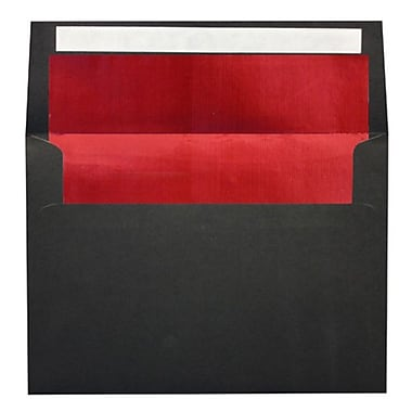 LUX A7 Foil Lined Invitation Envelopes (5 1/4 x 7 1/4), Black w/Red LUX Lining
