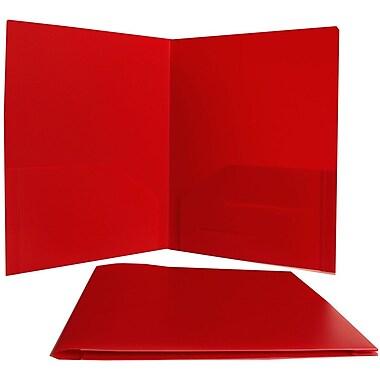 JAM PaperMD – Chemises de présentation en plastique robuste à deux pochettes, 9 x 12 po, rouge