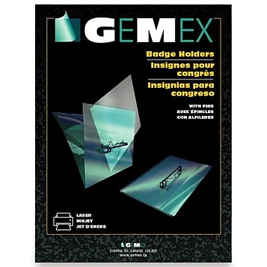Gemex Name Badge Holders With Pins, 100 per Box