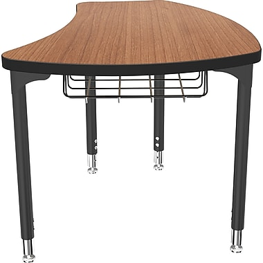 Balt Black Legs/Edgeband Small Shapes Desks With Black Book Basket