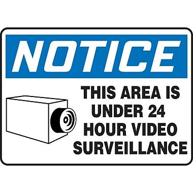 Accuform Signs Panneau de sécurité NOTICE THIS AREA IS UNDER 24 HOUR VIDEO SURVEILLANCE avec symbole graphique, 10x14