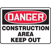 Accuform Signs® - Panneau de sécurité « DANGER CONSTRUCTION AREA KEEP OUT », 10 po x 14 po