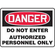 Accuform Signs® - Panneau de sécurité « DANGER DO NOT ENTER AUTHORIZED PERSONNEL ONLY », 10 po x 14 po